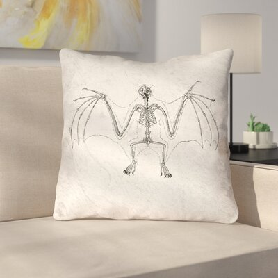 Vintage Bat Skeleton Double Sided Throw Pillow Type: Throw Pillow, Material: Linen