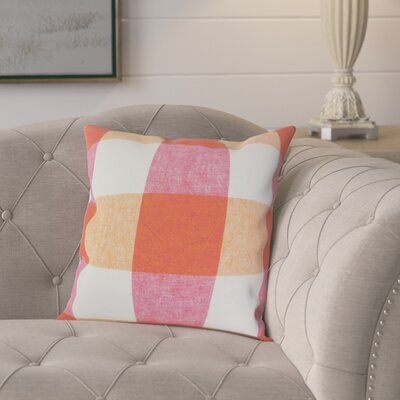 Porath Plaid Linen Throw Pillow Color: Pink