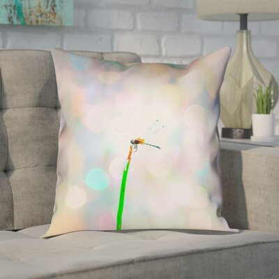 Gemmill Dragonfly and Lights Twill Double Sided Throw Pillow Size: 14 x 14, Type: Pillow Cover