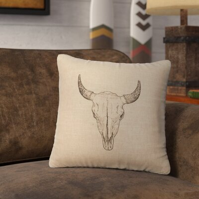 Lansdown Bull Skull Throw Pillow Color: Natural