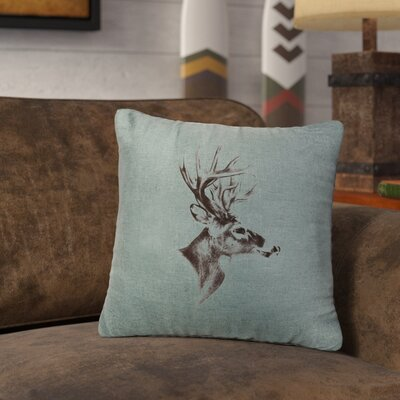 Lansford Deer Profile Throw Pillow Color: Ocean