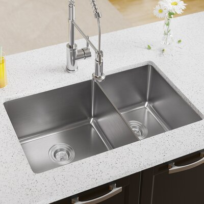 Stainless Steel 31 x 18 Double Basin Undermount Kitchen Sink