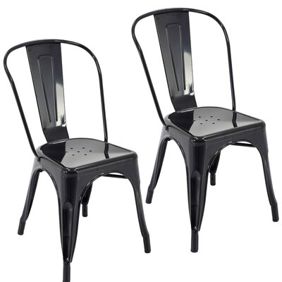 Northwest Hills Stackable Rust Resistant Dining Chair Color: Black