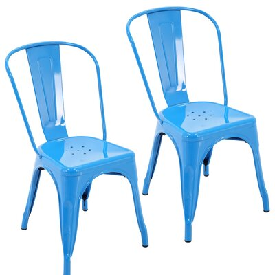Northwest Hills Stackable Rust Resistant Dining Chair Color: Blue
