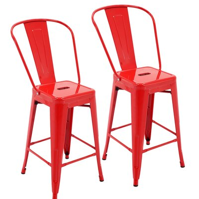 Nostrand 24 Bar Stool Color: Red