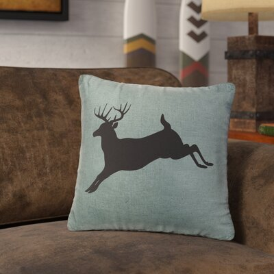 Nakayama Jumping Deer Throw Pillow Color: Ocean