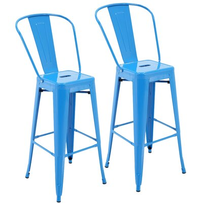 Nott 30.3 Bar Stool Color: Blue