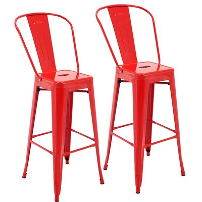 Nott 30.3 Bar Stool Color: Red