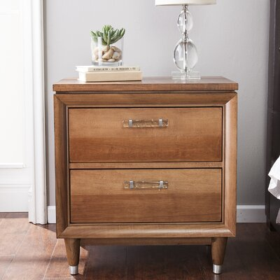 Graig Midcentury Modern 2 Drawer Nightstand