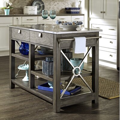 Music City Here Comes Temptation Kitchen Island with Stainless Steel Top Base Finish: Slate