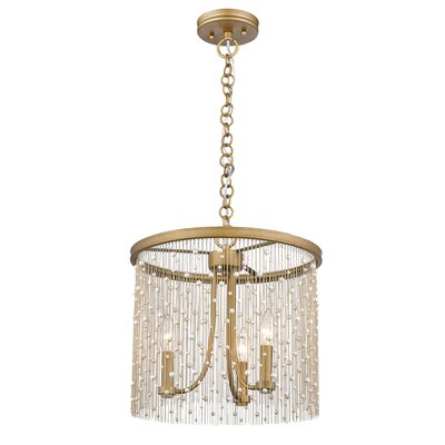 Latrell 3-Light Crystal Chandelier Color: Pearl Beads