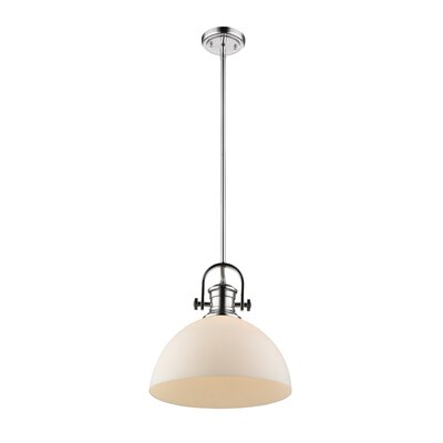 Vedder 1-Light Inverted Pendant Shade Color: Opal Glass, Finish: Chrome