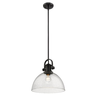 Vedder 1-Light Inverted Pendant Shade Color: Seeded Glass, Finish: Black