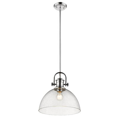 Vedder 1-Light Inverted Pendant Shade Color: Seeded Glass, Finish: Chrome