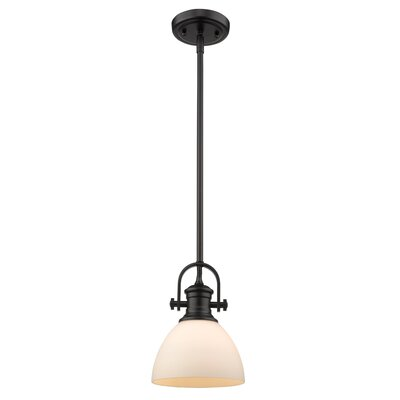 Vedder 1-Light Mini Pendant Shade Color: Opal Glass, Finish: Black