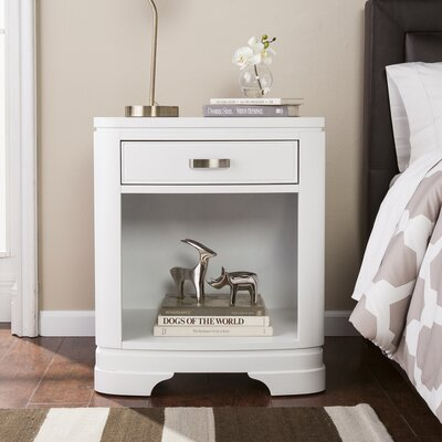 Cuccia 1 Drawer Nightstand Color: White