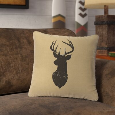Lansford Deer Head Silhouette Throw Pillow Color: Straw