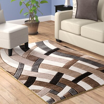 Maricela Hand Carved Beige/Gray/Black Area Rug Rug Size: 7'10