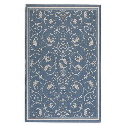 Veranda Scroll Blue Indoor/Outdoor Area Rug