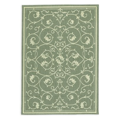 Veranda Scroll Green Indoor/Outdoor Area Rug Rug Size: Rectangle 53 x 76