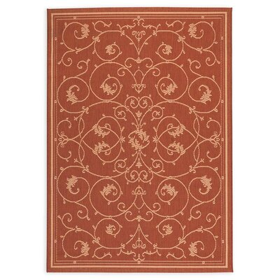 Veranda Scroll Terra Cotta Indoor/Outdoor Area Rug Rug Size: Rectangle 53 x 76