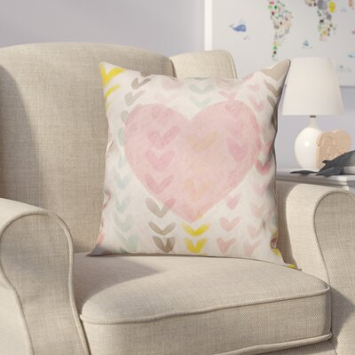 Creason Pastel Watercolor Hearts Throw Pillow