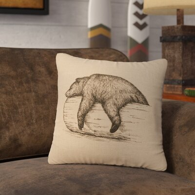 Nailwell Bear On A Log Throw Pillow Color: Natural