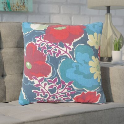 Guarani Floral Cotton Throw Pillow Color: Poopy