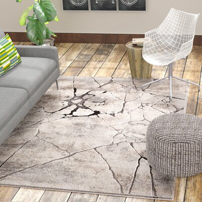 Clarisse Marble Gray Area Rug Rug Size: 710 x 910