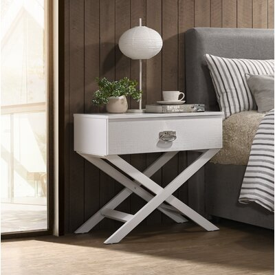 Trista 1 Drawer Nightstand Color: White