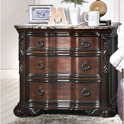 Rippy Traditional 3 Drawer Nightstand