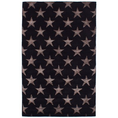 Dimas Abstract Art Hand-Tufted Wool/Silk Black Area Rug