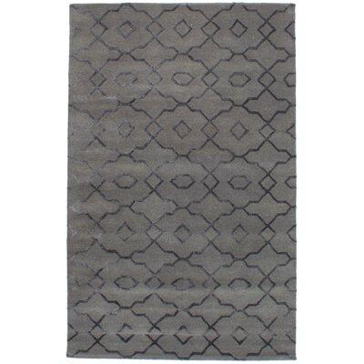 Cafar Abstract Art Hand-Tufted Wool/Silk Gray Area Rug