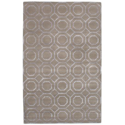 Griffing Hand-Tufted Wool/Silk Dark Khaki Area Rug