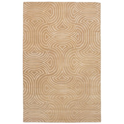 Rutland Abstract Art Hand-Tufted Wool/Silk Tan Area Rug