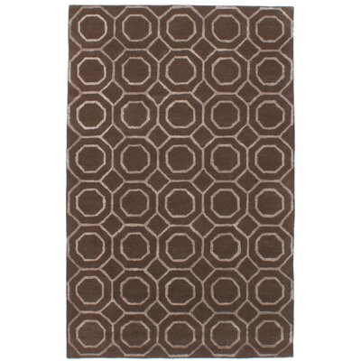 Griffing Hand-Tufted Wool/Silk Dark Brown Area Rug