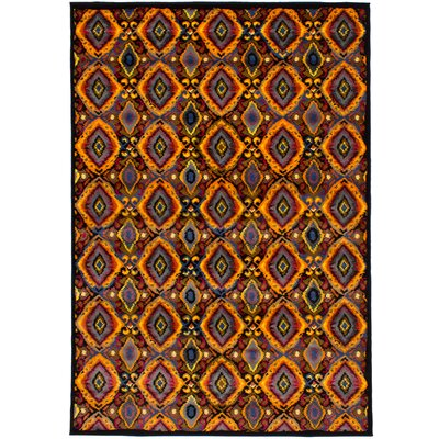Noren Black/Orange Area Rug