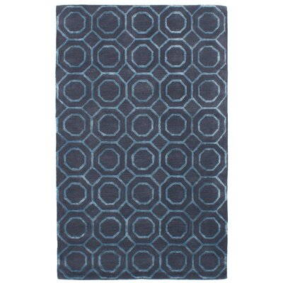 Griffing Hand-Tufted Wool/Silk Dark Gray/Blue Area Rug