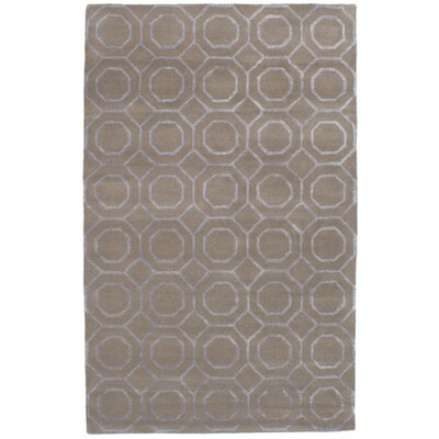 Griffing Hand-Tufted Wool/Silk Khaki Area Rug