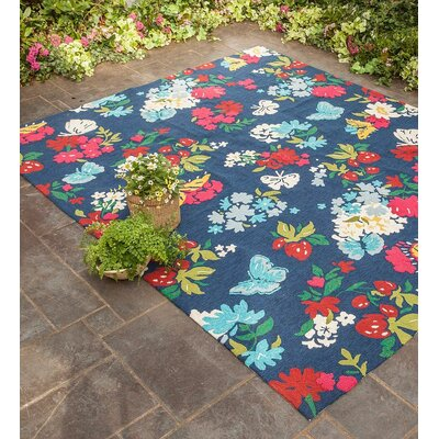 Hooked Blue Indoor/Outdoor Area Rug