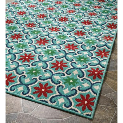 Lexington Floral Light Green Indoor/Outdoor Area Rug Rug Size: Round 710