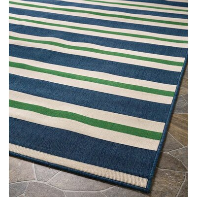Lexington Stripe Blue Indoor/Outdoor Area Rug Rug Size: Round 710