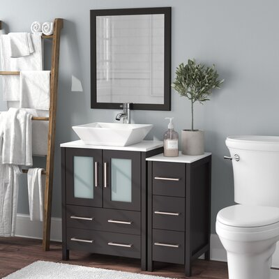 Megaira 36 Single Bathroom Vanity Set with Mirror Base Finish: Espresso