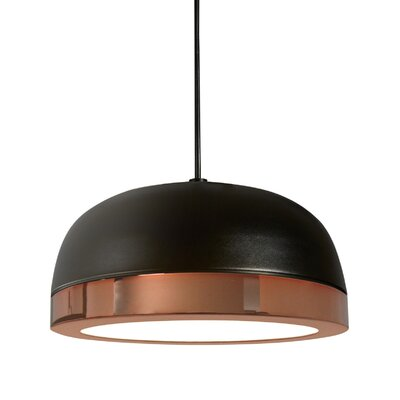 Tooy Molly 1-Light LED Inverted Pendant Shade Color: Black/Copper, Size: 4 H x 8 W x 8 D