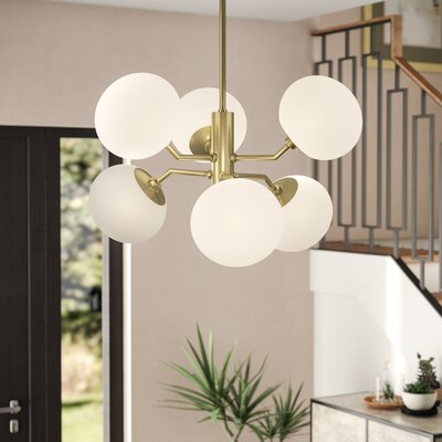 Gideon 6-Light Sputnik Chandelier Finish: Aged Brass