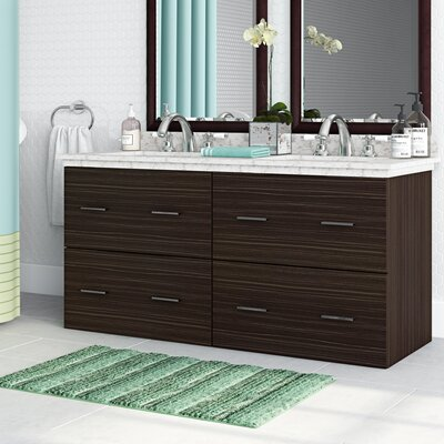 Phoebe Drilling Wall Mount 48 Double Bathroom Vanity Set Base Finish: Dawn Gray, Top Finish: Bianca Carara, Sink Finish: White