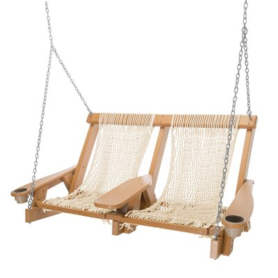 Image of Amalia Duracorda Porch Swing Fabric: Beige, Finish: Cedar