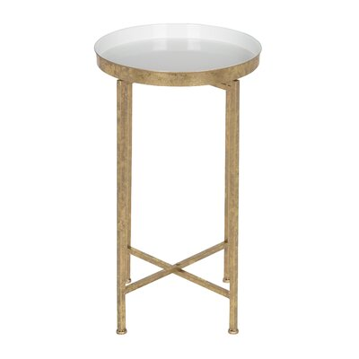 Millet Round Metal End Table Color: White, Gold