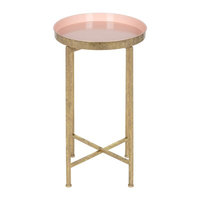 Millet Round Metal End Table Color: Pink, Gold