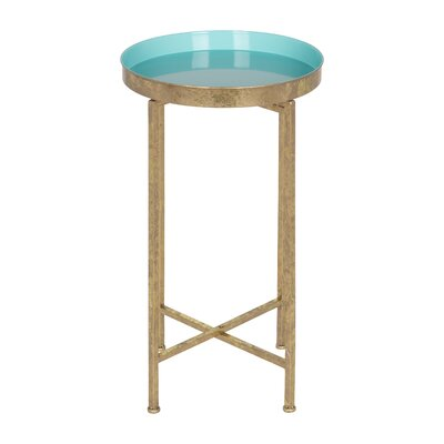 Millet Round Metal End Table Color: Teal, Gold